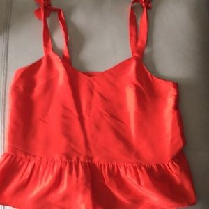 EUC Jcrew red ruffle with tied strap tank